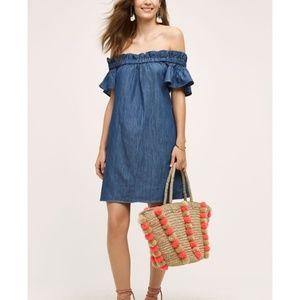 Anthropologie Off Shoulder Chambray Mini Dress